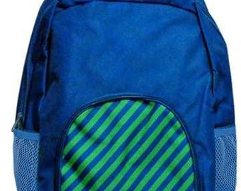 Personalized Navy Stripe Backpack