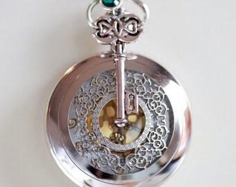 Pocket Watch Necklace With Key Charm ,Birthstone,jewelry gift,Locket,Necklace,Wedding