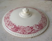 Vintage Red Transferware Casserole Lid Historical America Homer Laughlin Replacement Lid 1940s