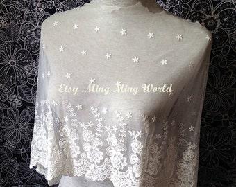Mesh Fabric Lace Trim - 1.5 Yards Cotton Ivory Flower Lace Trim (L239)