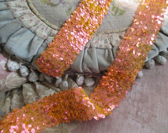 GORGEOUS Shimmering Orange Pink Neon Sequin Sequined Trim By The Yard Costume Dance Burlesque