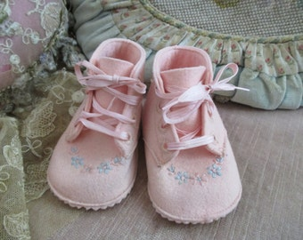 Vintage Nursery Wool Baby Deer Baby Shoes Little Girl Pink Felt Embroidered Rosettes Shower Gift Idea