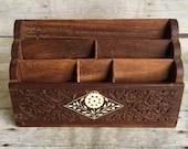 Wooden Box Letter Sorter - Organizer -