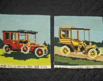 Two  Vintage Cars  Needlepoint .Finished 2 Square Tapestry  8.25x8.25 inches