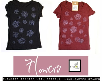 Cotton TEE printed with original hand-carved stamps- flowers