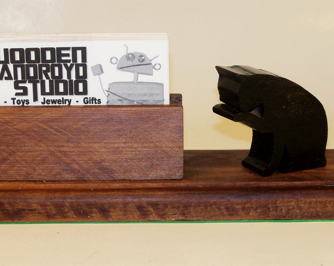 Black Cat Business Card Holder or Phone Stand,  Charging Station, iPhone Stand, Galaxy Phone Stand, Boss Gift, Secretary Gift, Gift for Her