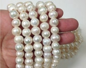 16 Inch 11 to 12 mm Large Hole Freshwater Pearl Potato Beads - White - 2.5 mm hole (ET1589W95)