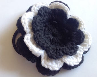 Crochet Flower with Hair Tie - Large, Black and White Flower on Pony Tail Holder