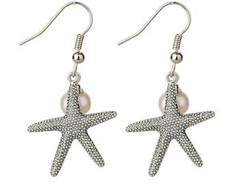 Starfish and Freshwater Pearl Earrings