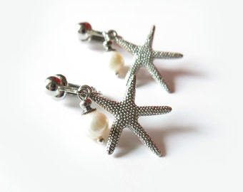 Starfish Freshwater Pearl Clip On Earrings