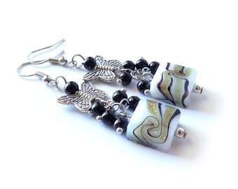 Butterfly Beaded Silver Earrings