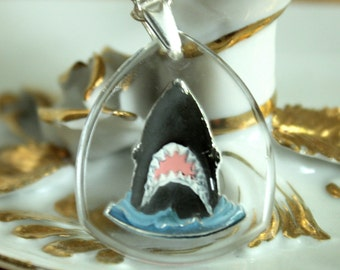 Shark Necklace Vintage Glass Intaglio Reverse Painted Pendant
