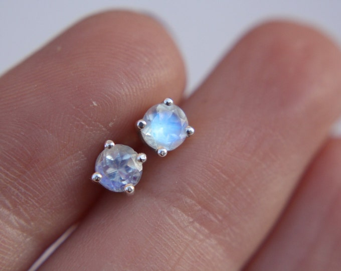 Medium Faceted Moonstone Stud Earrings - sterling silver moonstone earrings - moonstone studs - rainbow moonstone earrings - gemstone studs