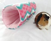 Small animal tunnel, guinea pig, chevron tunnel, pet hideout, pigaloo, pet sleeping bag. cage accessories, small animal toy, hideout