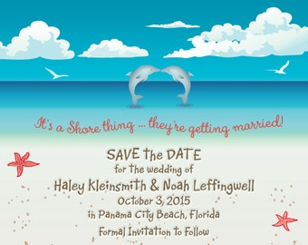 Kissing dolphins Beach SAVE the DATE Seashells Aqua PRINTABLE