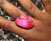 Hot Pink Jasper Ring by ChoklatTea