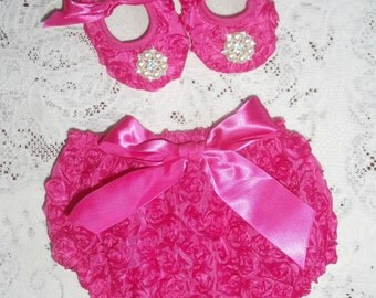 Pink 3D Rosette 2 piece Baby Bloomer, shoes, headband, diaper cover, Infant, toddler 3-6 months