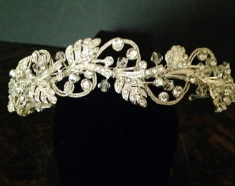 Rhinestone and Swarovski Crystal Bridal Headband, Rhinestone Bridal Headpiece, Wedding Accessory, Priced to Sell