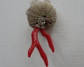 red coral and sea urchin ornament. where the ocean meets the desert.  original limited collection.  unique one of a kind ornaments.