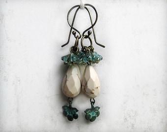 White Teardrop Earrings, Summer Earrings, Patina, OOAK Earrings, Handmade USA