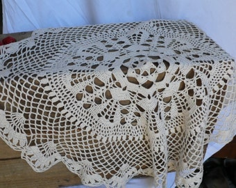 Handmade Table Doily, Circular Table Piece, handworked crochet, cream table runner, vintage home decoration, homewares from france