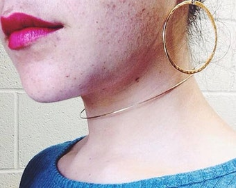 14 Karat Gold filled Choker Hammered Simple Clasp