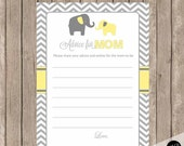 Yellow and gray advice for mom card, elephant advice for mom, elephant baby shower game, yellow and grey baby shower advice card, yg1