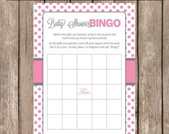 Baby Shower Bingo , pink and gray bingo, baby shower bingo, pink and gray baby shower games, pink and gray , INSTANT DOWNLOAD pg1