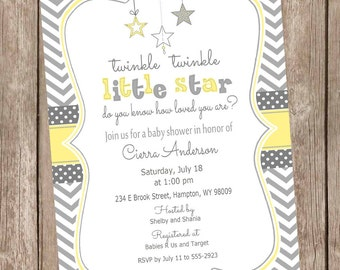 Yellow and Gray Twinkle Twinkle Little Star baby shower invitation, gender neutral baby shower invitation, star invitation, yellow and grey