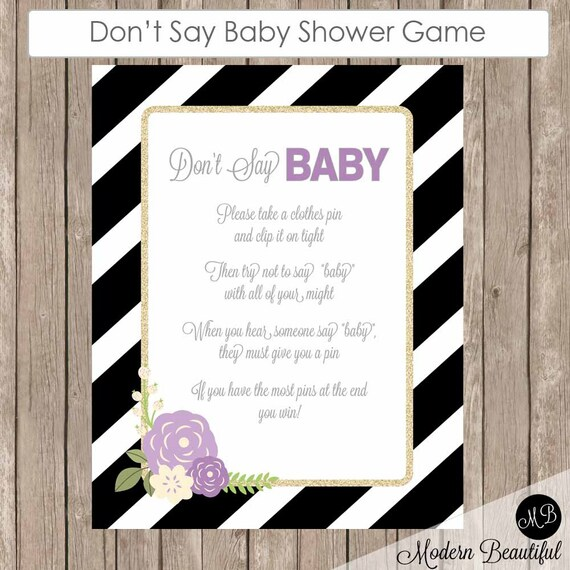 say baby baby shower game clothes pin game purple flower shower game