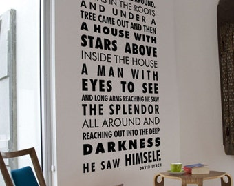 David Lynch Quote Decal,  Words Decal, Poem Wall Decal, Home Wall Decor, Quotes Vinyl Wall Sticker