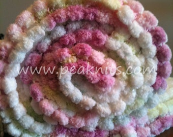 Baby Blanket, Pom Poms, Hand Knit - Pink, Blue, Yellow, Green and White Knit/Garter Stitch with Pompom Yarn - Acrylic, Machine Wash and Dry