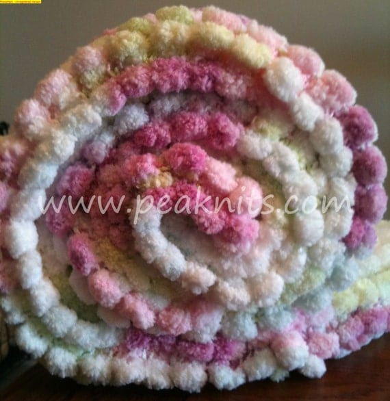 Knitting A Baby Blanket With Pom Pom Wool : Baby blanket pom poms hand knit pink blue yellow green
