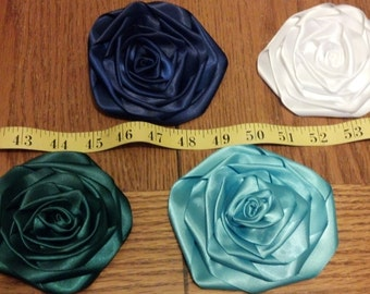 Lot of 100 LARGE Rolled Roses Satin Flowers mix or match - Floral decor, sewing projects, weddings, birthdays, DIY, Hair Accessories