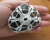 Large Crocheted Wish Stone, Large Crocheted Doily Covered Polished Rock