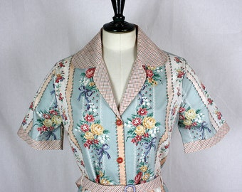 Mint and Pink Dress Medium and Large, SALE, vintage fabric  *Ready to ship*