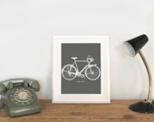 Vintage Bicycle & Quote Art Print Poster for Wall Hanging - Charcoal and White Bike Illustration - Modern Wall Decor - 8x10 Printable Art