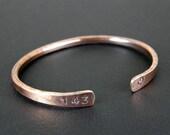 143 Antiqued Copper Bracelet, Hand Stamped Copper Bracelet, Made To Order, in Mens or Womens