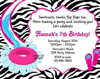 Water Slide Birthday Invitation - Zebra Print Flip Flops Pool Party Inflatable Slide - Birthday Party - Printable JPEG File #24