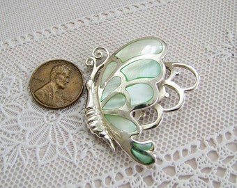 Butterfly Mother Of Pearl Inlaid Sterling Silver Pendant