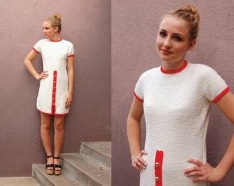 Vintage St John 60's Knit Sweater Dress MOD Shift Short White Dress