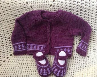 Hand Knitted Cardigan with matching shoes Baby Girl Newborn Cardigan 0-3month Immediate shipping