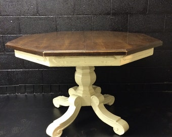 Wood and Ivory Kitchen Table