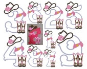 Lady Cowboy Birthday numbers - whole set - machine embroidery applique designs 5x7