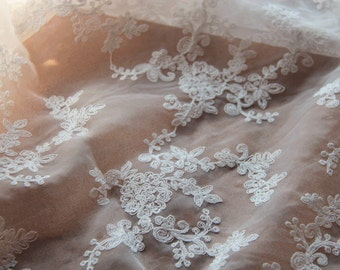 "White Organza Wedding Lace Fabric Cotton Floral Embroidered Veil Lace Tulle Gauze 47"" Wide 1 Yard For Dress Veil CostumeHeadwear Supplies"