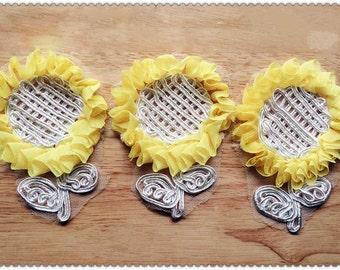 Lovely Yellow Chiffon Sunflower Lace Appliques Chiffon Patches 1 pcs