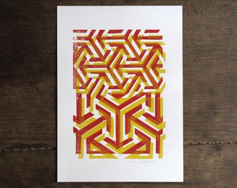 Original Modern Linocut hand print- red and yellow - geometric pattern- limited edition -  8 x 12  poster -