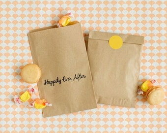 "Kraft wedding Favor Bags - ""Happily Ever After"" Favor Bags - Disney Wedding Favor Bags"
