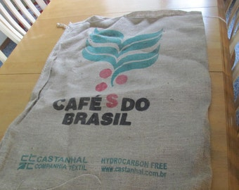 Burlap Coffee Bag Sack 40 by 27 Cafes Do Brasil Green Red