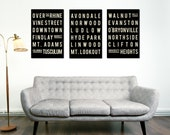 CINCINNATI Print - Subway Sign Typography Poster - Home - Living Room - Decor - City Map - Gift - Modern Art Print -  Set of 3